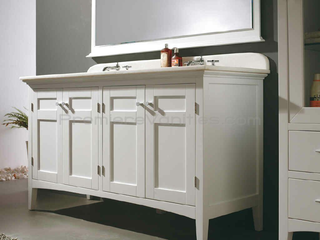 Double Vanity White Shaker Traditional Feet Legs Painted Paint Grade Inset Doors And Drawers